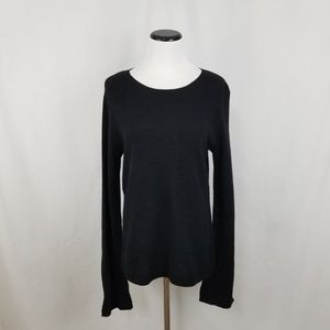 NEW 100% Cashmere Black Wide Split Sleeve Sweater